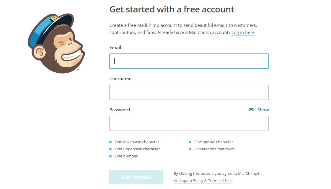 Form di registrazione di Mailchimp
