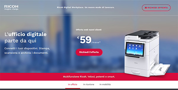 Landing page Ricoh Digital Workplace, ambiente Office
